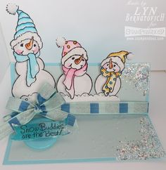 Pretty pastels snowman buddies. #Cre8time with #Stampendous and #DWStencils