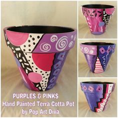 Flower Pot Art, Flower Pot Design, Mosaic Flower Pots, Painted Clay Pots, Painted Flower Pots, Hand Painted Ceramics, Clay Pot Projects, Clay Pot Crafts, Shell Crafts