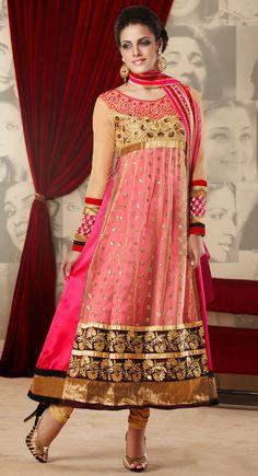 Vivacious Cream & Deep Pink Salwar Kameez