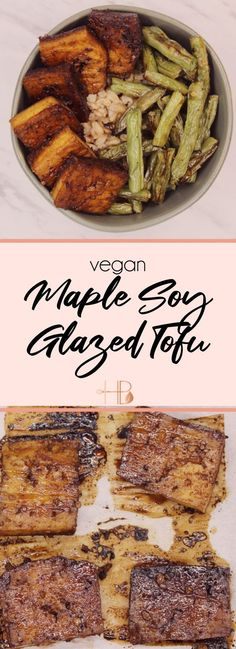 Maple Soy Glazed Tofu  Hey Brittney Tofu Recipes, Delicious Vegan Recipes, Yummy Food, Dinner Recipes, Healthy Recipes, How To Press Tofu, Easy Vegan Dinner, Marinated Tofu