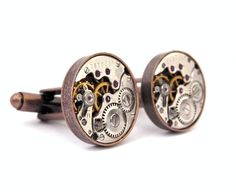 Steampunk Watch Cufflinks Vintage Clockwork Watch by Jamlincrow