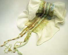 Arlenesfelt: A few New Scarves Nuno Felting, Needle Felting, Wool Yarn, Wool Felt, Nuno Felt Scarf, Felted Scarf, Wet Felting Projects, Textiles, Handmade Scarves