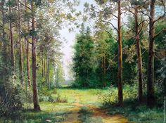 Купить Картина маслом пейзаж Тропинки_Владимир Чернов - пейзаж, картина, масляная живопись, зеленый
