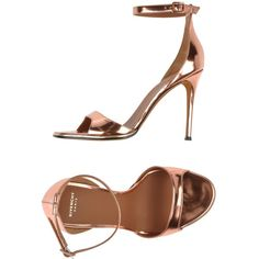Givenchy Sandals ($495) ❤ liked on Polyvore featuring shoes, sandals, heels, copper, buckle sandals, givenchy, leather sole sandals, genuine leather shoes and leather buckle sandals