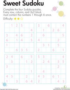 Third Grade Puzzles & Sudoku Worksheets: Kids Sudoku Printable