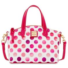 Dooney  Bourke Pink Dots Ruby Mini Satchel ($158) ❤ liked on Polyvore featuring bags, handbags, pink, mini satchel handbags, dooney bourke satchel, pink satchel handbags, white satchel handbags and mini satchel purse