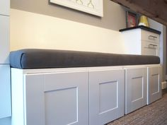 DIY bench with sotrage | We plan to attach the cushioned portion to the base of bench seat ...