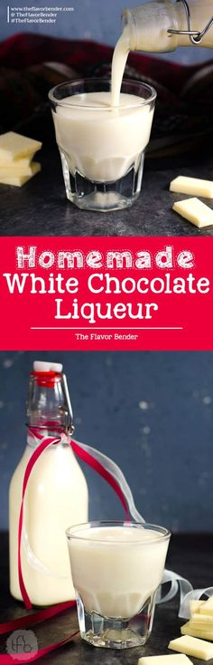The BEST homemade white chocolate liqueur that is so easy to make, and absolutely delicious with extra white chocolate flavor! It's NOT sickly sweet, but still has the creamy taste of white chocolate! Far better than store bought too. via @theflavorbender