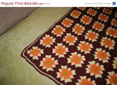 1st Anniversary Sale Vintage Afghan Throw -70s Orange, Brown & Yellow.
