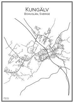 Kungälv. Bohuslän. Sverige. Map. City print. Print. Affisch. Tavla. Tryck. Stadskarta.
