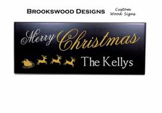 """Carved Wood Christmas Sign with Last Name And Quote """" Merry Christmas """"and Santa Scene Customized Christmas Wall Plaque for Home Decor"""