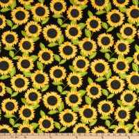 44 Wide Pick A Bunch Organic Sunflower Toss Aqua Fabric By The Yard
