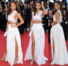 Joan Smalls Puts in Alaïa Outfit and Floral Heels at Cannes