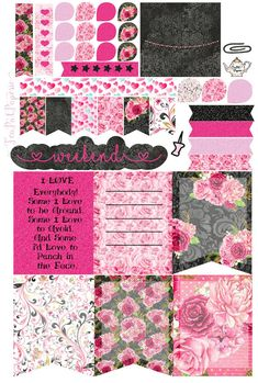 ADULT theme weekly Kit Valentine/February planner stickers