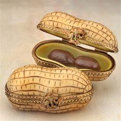 ♔ Bottles & Boxes ♔ perfume, pill, snuff, cigarette cases & decorative containers - Limoges Peanut Box The Cottage Shop