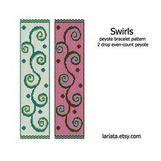 Swirls  2Drop Peyote Bracelet Pattern  INSTANT DOWNLOAD von lariata, $5.99