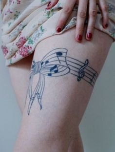 Music Tattoo on Thigh