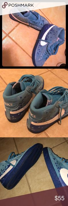 Nike Blazer Tar Heel and electric blue rare!! Worn 2-3 times max .. size USA 12 men's Nike Blazer Nike Shoes Sneakers