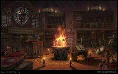 the wiccan shop, Teresa Sue HAN Fantasy Rooms, Fantasy Castle, Fantasy Places, Medieval Fantasy, Fantasy World, Dark Fantasy, Anime Fantasy, Fantasy Art, Fantasy Background