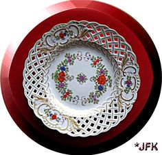 miessen & capodemonte ..  X ღɱɧღ ||    From the world's oldest Porcelain Factory: Meissen Plate Germany China Lace Flowers Gold Red Blue