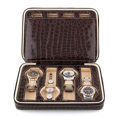 Amzdeal®  Eight 8 Slot Zippered Luxury Jewelry Leatherette Crocodile Pattern Case ,Watch Display Case ,Watch Travel Case, Watch Box,Watch Storage Organizer Collector Case (Coffee)  #Amzdeal® #BoxWatch #case #Coffee #Collector #Crocodile #Display #Eight #Jewelry #Leatherette #Luxury #Organizer #Pattern #Slot #Storage #Travel #Watch #Zippered MonitorWatches.com