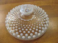 MOONSTONE Vintage Hobnail Candy Dish LID~Anchor Hocking Milk Glass Opalescent