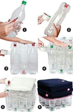 how to make puff with plastic bottles Plastic Bottle Crafts, Recycle Plastic Bottles, Recycled Crafts, Diy And Crafts, Diy Pet, Pet Bottle, Recycled Bottles, Diy Furniture, Easy Diy