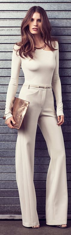Love the flowy pants.  Love the sleek top and sleeve length, not so much the neckline/open shoulders. -AU