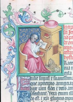 Fifteenth-century depiction of Saint Jerome, with nooks to lay his books when not in use. Austrian National Library, Vienna, Codex Vindobonensis Palatinus 1169 : HMML Color Microfilms