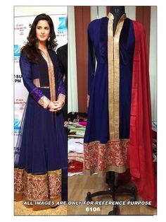 Katrina Kaif Navy Blue Anarkali by Arisha-6106 - Online Shopping Marketplace Shopdrill.com