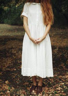 Classic Dress, Short sleeves, White Magnolia – Son de Flor