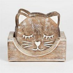 Set of 6 Carved Cat Coasters. Each coaster has the cute cat features carved into the wood, along with cute little eyes, whiskers and a nose. The set consists of 6 pieces. Coaster Holder, Coaster Set, Face Coasters, Wooden Cradle, Cute Cat Face, Wood Cat, Sass & Belle, Cat Drinking, Wooden Coasters