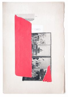 red mixed media collage