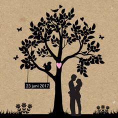 Silhouet trouwkaart bruidspaar
