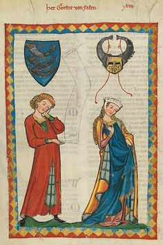 Manesse Codex is a book copied & illustrated between 1305 & 1340 in Zürich. It contains love songs in Middle High German by important poets, several of whom were famous rulers.The Codex Manesse portrays fearless knights & coy maidens; games of chess, backgammon, falconry, & jousting; & the royal trappings of heraldry, castles, bedecked horses, & court musicians.