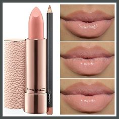 #mac lipstick and lip liner -#peachstone