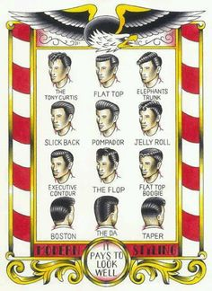 Rockabilly hair is more than just the pompadour. Look Rockabilly, Rockabilly Fashion, Rockabilly Hairstyle, Pin Up, Retro Tattoos, Teddy Boys, Moustaches, Vintage Hairstyles, Men's Hairstyles