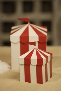 Circus tent boxes. More party inspiration at www.getthepartystarted.etsy.com