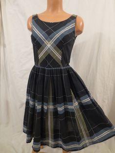 CRISS CROSS #vintage day dress - $35 at JOHNNY BOMBSHELL #truevintage #plaid #fullskirt #fifties #atomic