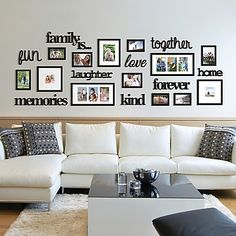 22 Pcs Word Family Is Photo Picture Frame Collage Set Black Home Wall Art Decor 663157248260 Living Room Photos, Home Living Room, Living Room Decor, Bedroom Decor, Picture Wall Living Room, Living Room Wall Ideas, Dinning Room Wall Decor, Room Ideas, Bedroom Apartment