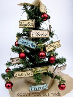 Today's Fabulous Finds: DIY Printable Paint Stick Ornaments: Names and Attributes of Christ (for the 12 days of Christmas) Church Christmas Decorations, Diy Christmas Ornaments, Christmas Projects, Holiday Crafts, Christmas Wreaths, Homemade Christmas, Tree Decorations, Holiday Ideas, Christmas Jesus