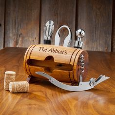 Personalized Wine Barrel Accessory Set- Wine connoisseurs love anything and everything that has to do with wine. That's why the Wine Barrel Accessory Kit makes such a great gift for anyone with a taste for fine wine. Crafted in the shape of a barrel, Wine Kits, Wine Bottle Opener, Bottle Top, Bottle Stopper, Wine Stoppers, Bottle Labels, Wine Bottles, Wine Decanter, Gifts For Wine Lovers