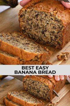Banana Bread Recipie, Banana Bread Cupcakes, Banana Nut Bread Easy, Super Moist Banana Bread, Easy Banana Bread Recipe Without Baking Soda, No Butter Banana Bread, 2 Bananas Banana Bread, Banana Bread Without Eggs, Pastries