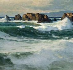"Donald Demers, ""Breaking on the Bluffs at Point Buchon"" (oil, 24 x 40), posted by Plein-air Painters of America on Facebook, 31 Dec 2012."