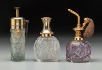 Three R. Lalique Glass Atomizers Calendal, Sussfeld Fleurs, and Epines No. 4 Circa 1923-1