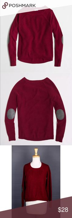 J. Crew Warmspun Swingy Elbow Patch Sweater Red J. Crew Warmspun Swingy Elbow Patch High Low Sweater Cranberry Red Small S. minimal piling J. Crew Factory Sweaters Crew & Scoop Necks