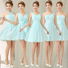 Find More   Information about Sky Blue Bridesmaid Dress Gown Mini Sexy Chiffon Bridesmaid Dress For Party Short Cheap Bridesmaid Dresses Under 50 ,High Quality  ,China   Suppliers, Cheap   from Princess Sally International Co.,Ltd. on Aliexpress.com