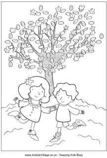 Spring children colouring page, boy and girl, blossom tree