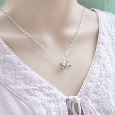 Silver Origami Crane Necklace, Origami Bird Necklace