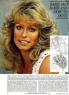 """I remember my older sister having the """"Farrah Hair"""" instructions. It was on her dresser next to her hot rollers and her make-up mirror, with the different light settings."""